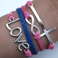 Lovers Bracelet -- Unisex fashion silver 8 infinity wish,cross and LOVE bracelet, pink wax rope and blue leather braided leather bracelet