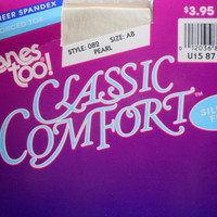 Panty Hose Hanes Too Classic Comfort Reinforced Toe Size AB Pearl Style 082 Nylon Silky Sheer Spandex Vintage Hosiery Easter Summer Spring
