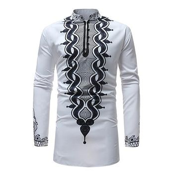 White Black and Navy scroll Mens Hipster African Dashiki Longline Shirt