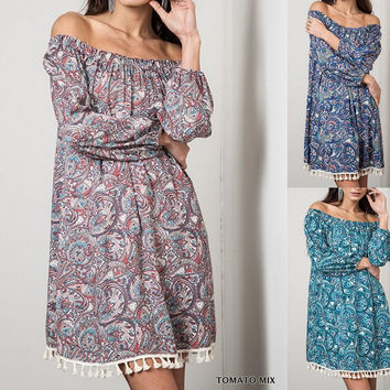 Eliza Bella for Umgee Hippie-Chick Paisley Off Shoulder Dress / Blouse SML
