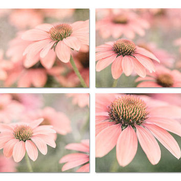 Flower Print Set of 4, Peach Flower Photos, Salmon Wall Decor, Peach Wall Art, Salmon Flowers, Pink Flower Set, Shabby Chic Wall Decor,