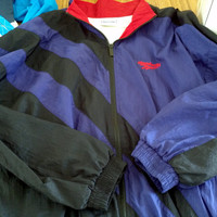 Size L Reebok Lined Windbreaker Colorblock Track Suit Jacket Mens Womens Unisex Running athletic wear Sports red purple black