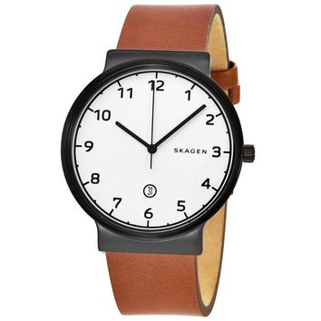 Skagen Ancher White Dial Mens Leather Watch SKW6297