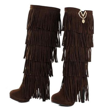 Fur Women boots High heels Knee boots  Tassels