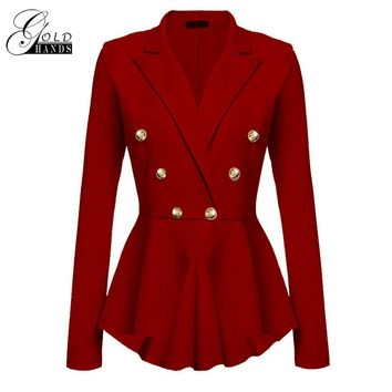 Gold Hands Double-breasted Outerwear Coats Slim  Winter Trench Coat Long Sleeve Street Overcoat for Women Female Wave Hem