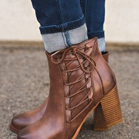 Camden Lace Up Booties (Mocha)