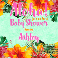 Aloha, Baby Shower Invitations, Floral, Tropical baby shower,  Printable digital, Baby Shower Invitations, 5x7 baby shower invitation