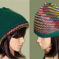 Paddy Green Reversible Multicolored Women's Winter Beanie Hat