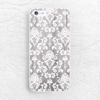White Damask grey wood print Phone Case for iPhone 6 iPhone 5s 5c, Sony z1 z2 z3, LG g2 g3 nexus 5, Moto x Moto g, elegant floral lace -G11