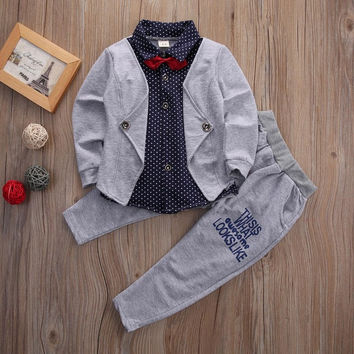 2pcs gentleman suit !! Toddler Baby Boys Kids bow tie Tops+Long Pants Clothes Outfits autumn Set