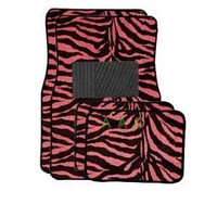 BDK A Set of 4 Universal Fit Animal Print Carpet Floor Mats for Cars / Truck / SUV - Pink