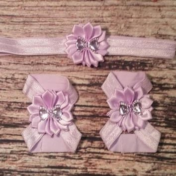Purple Satin Flower with Bow Headband and Barefoot Sandal Set!
