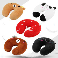 New Safety Multi Color Cartoon Animals U Shape Neck Pillow Protecting Tour Cushions From Cotton Headrest Support Massage Pillow