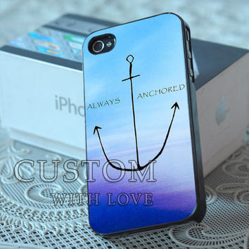 Nautical Anchor Quote Blue Ocean Beach - Rubber or Plastic Print Custom - iPhone 4/4s, 5 - Samsung S3 i9300, S4 i9500 - iPod 4, 5