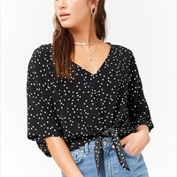 Polka Dot Button-Front Top