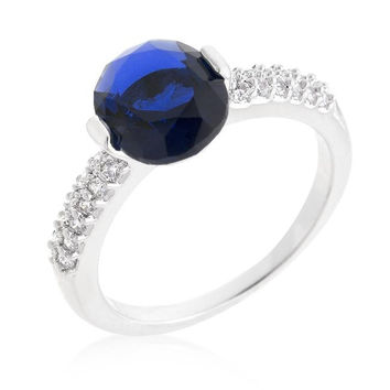 Blue Oval Cubic Zirconia Engagement Ring, size : 09