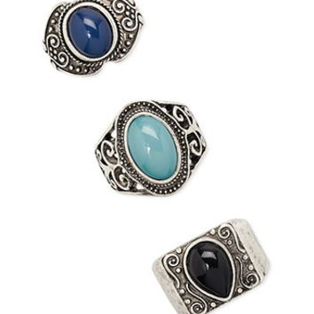 Faux Stone Etched Ring Set