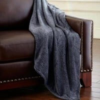 Amrapur Heathered Solid Fleece Throw Blanket Grey