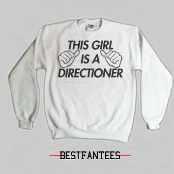 This Girl Is A Directioner White Crewneck Sweatshirt 1d 018