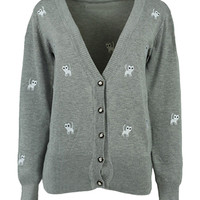 Gray Cat Pattern Embroidered Cardigan