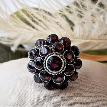 Antique Victorian Bohemian Sterling Silver Garnet Ring Size 7