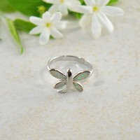 White Fire Opal Butterfly Ring in Sterling Silver