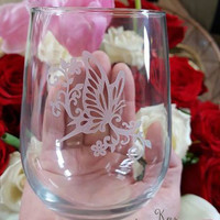 Butterfly etched stemless wine glass, Engraved wine glass, Butterfly wine glass, Mothers day gifts, Wine lovers, Wine gifts, Wedding gifts