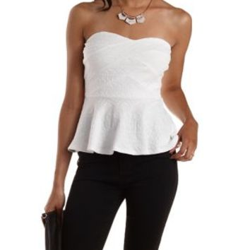 White Tribal-Textured Strapless Bandage Top by Charlotte Russe