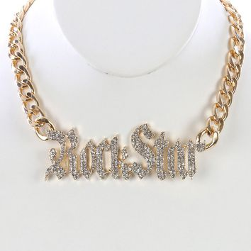 Clear Pave Crystal Stone Chunky Message Bib Necklace