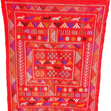 Moroccan Rug - Oued Zem Handmade Cotton Area Rug - Red - 53 x 37.5 inches