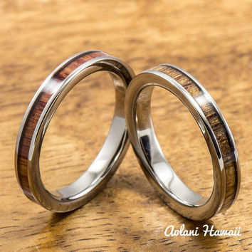 Tulip and Hawaiian Koa Titanium Wedding Band Set (3mm - 3mm Width, Flat Style)
