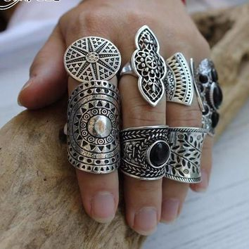 New Bohemian Vintage Boho Rings Set Tibetan Silver Plated 8pcs