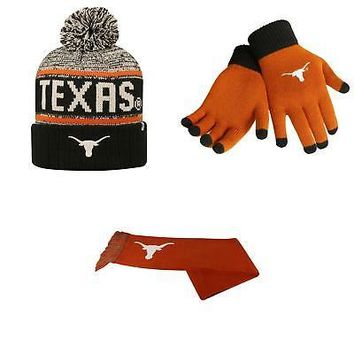 Licensed Texas Longhorns Acid Rain Beanie Hat Team Logo Scarf And Glove Solid Knit 38438 KO_19_1
