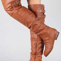Diva Lounge Tosca-27 Buckle Riding Thigh High Boot
