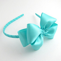 Aqua Blue Satin Bow Headband Tiffany Blue by snowbella on Etsy