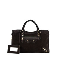 Giant 12 Golden Suede City Bag, Black - Balenciaga