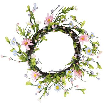 "12"" Green Pink and Purple Decorative Artificial Spring Floral Twig Wreath - Unlit"