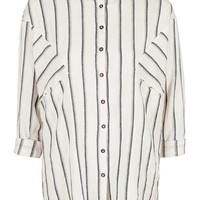 TALL Oversized Shadow Stripe Linen Shirt - Sale & Offers