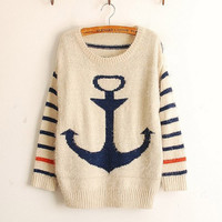 Navy Anchor Stripes Mohair Sweater