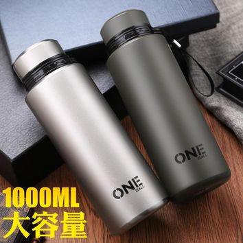ONE Vacuum Mug 304 Stainlesss Steel Sport Men Cup 1000ml Big Large Capacity Thermoses Double Insulated Bottle thermos bottle