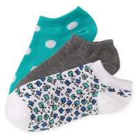 Aeropostale Womens 3-Pack Floral Dot Ped Socks - White, 9-11