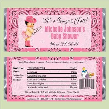 Cowgirl Baby Shower Candy Bar Wrappers