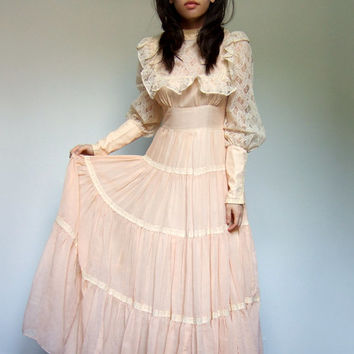 Gunne Sax Boho Maxi Dress Prairie Wedding Pale Peach Jessica McClintock - Extra Small XS/ S