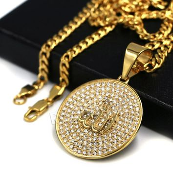 316L Stainless Steel Medallion Allah Blinged Out Pendant w 4mm Miami Cuban Chain