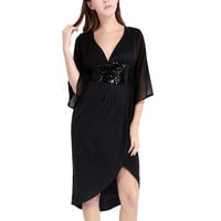 Black Plus Size Sequinned Bow Tie Plunge Wrap Dress