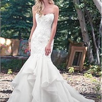 [234.99] Alluring Organza Sweetheart Neckline Mermaid Wedding Dresses With Beaded Lace Appliques - dressilyme.com