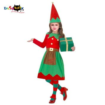 Eraspooky Children's ChristmasCostumes Girl Christmas Elf Fancy Dress Santa Claus Cosplay Girl Disguise Child Costume Hat Gift