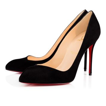 Best Online Sale Christian Louboutin Cl Corneille Black Suede 100mm Stiletto Heel 12s