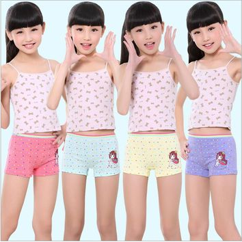 Fashion Girls Underwear Cotton Panties For Girl High Quality Cartoon Boxer Kids Short Briefs Children Underpants 4pcs/pack