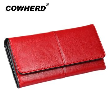 COWHERD Women Clutch Wallets 100% Genuine Cow Leather Wallet Fashion Patchwork Lady Red Long Wallet Elegant Female Purse Bag